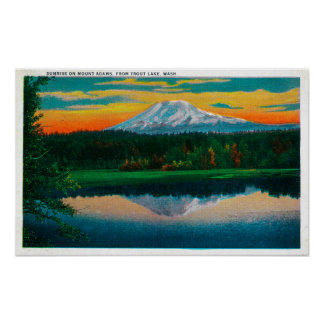 Sunrise on Mount Adams from Trout Lake, WA Poster