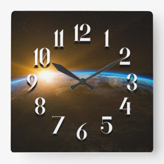 Sunrise on Planet Earth Square Wall Clock