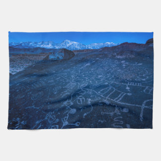 Sunrise On Sky Rock Petroglyph And Sierra Nevada Hand Towels