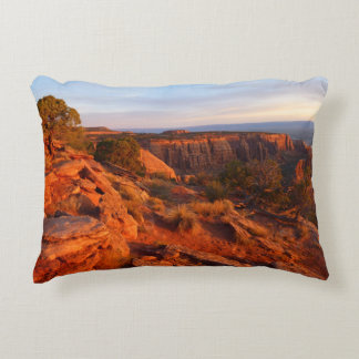 Sunrise on the Grand View Trail at CO Monument Decorative Pillow