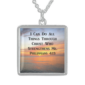 SUNRISE ON THE OCEANS PHILIPPIANS 4:13 SCRIPTURE STERLING SILVER NECKLACE