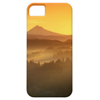 Sunrise orange colours the fog in the valley in iPhone 5 case