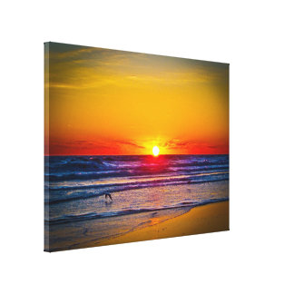 Sunrise Over Atlantic Ocean & Water Reflection Canvas Print