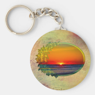 Sunrise Over Atlantic Oval with Flowers Basic Round Button Keychain