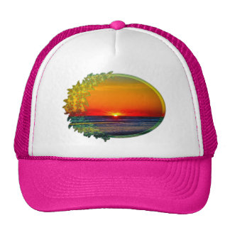Sunrise Over Atlantic Oval with Flowers Trucker Hat
