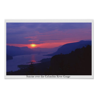 Sunrise Over Columbia River Gorge Poster