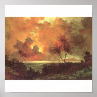 Sunrise Over Diamond Head, oil on canvas painting Poster
