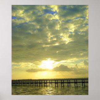 Sunrise over dock poster