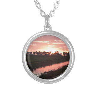 Sunrise Over Farmland Silver Plated Necklace