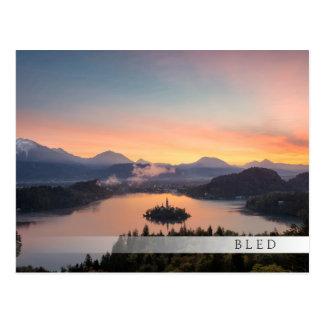 Sunrise over Lake Bled bar postcard