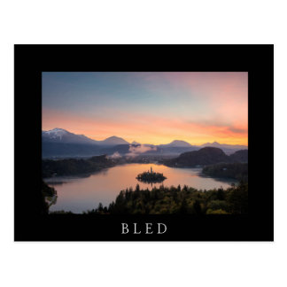 Sunrise over Lake Bled black postcard