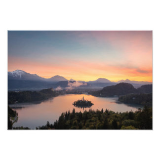 Sunrise over Lake Bled photo print