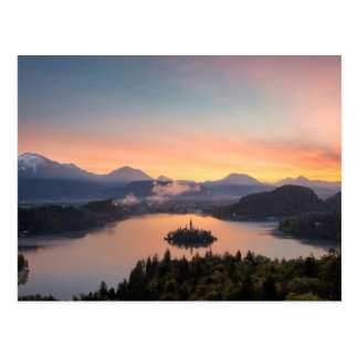 Sunrise over Lake Bled postcard