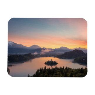 Sunrise over Lake Bled rectangular magnet