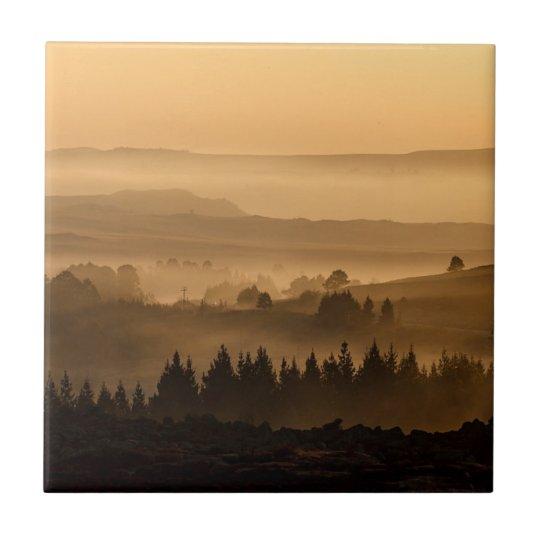Sunrise Over Misty Rolling Hills Landscape Tile