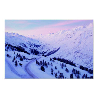 Sunrise over Snowy Mountains poster