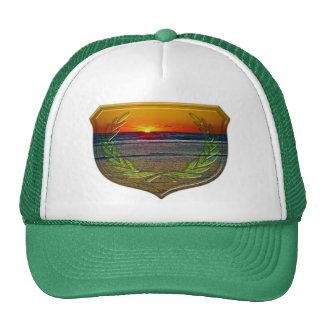 Sunrise Over The Atlantic & Shield Design Art Trucker Hat