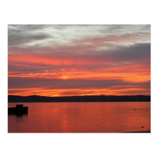 Sunrise over the Hudson . Postcard
