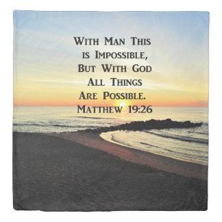 SUNRISE OVER THE OCEAN MATTHEW 19:26 DUVET COVER
