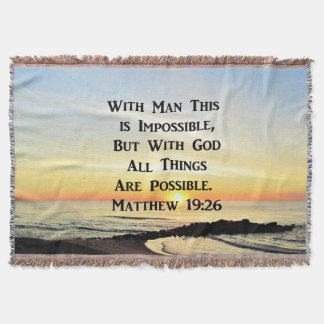 SUNRISE OVER THE OCEAN MATTHEW 19:26 THROW BLANKET