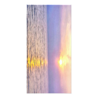 Sunrise over the water custom photo card