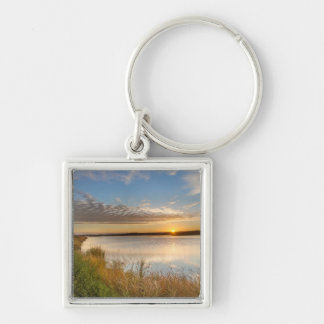 Sunrise Over Wetlands At Arrowwood National Silver-Colored Square Keychain