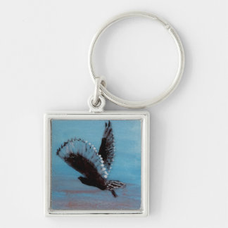 Sunrise Owl Bird Art Silver-Colored Square Keychain