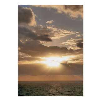Sunrise Rays over Ocean Poster