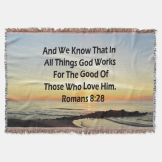 SUNRISE ROMANS 8:28 SCRIPTURE VERSE THROW BLANKET