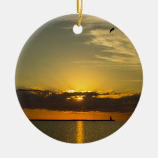 Sunrise Round Ceramic Ornament