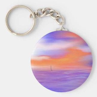 Sunrise Sail Basic Round Button Keychain
