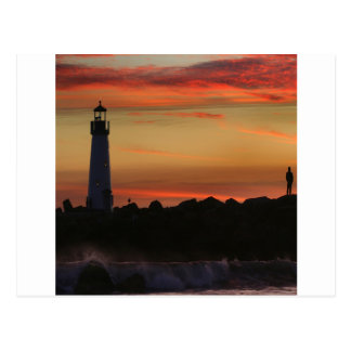 Sunrise Santa Cruz Lighthouse Postcard