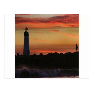 Sunrise Santa Cruz Lighthouse Postcard