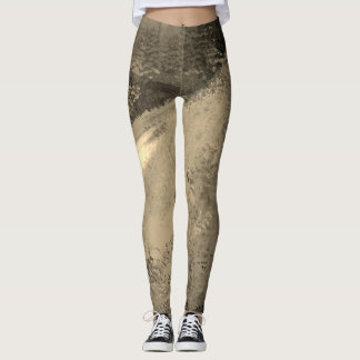 Sunrise Sepia Toned Abstract Painting - Leggings
