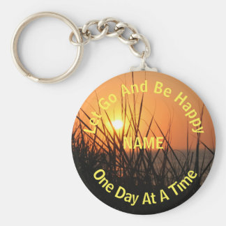 Sunrise Silhouette One Day At A Time Personalized Key Chains