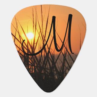 Sunrise Silhouette Summer Beach Add A Monogram Guitar Pick