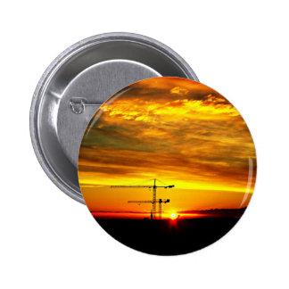 Sunrise silhouetting Cranes 2 Inch Round Button