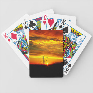 Sunrise silhouetting Cranes Bicycle Playing Cards