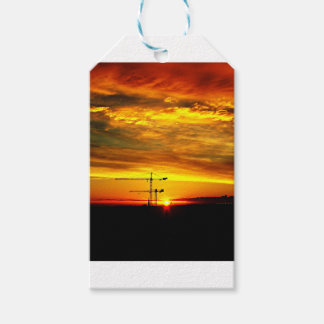 Sunrise silhouetting Cranes Gift Tags
