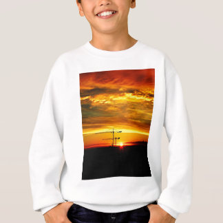 Sunrise silhouetting Cranes Sweatshirt