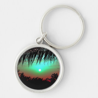 Sunrise Silver-Colored Round Keychain