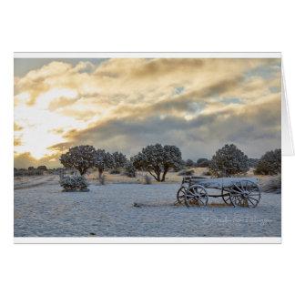 Sunrise Snowy Cart Scene Card