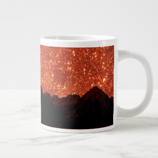 Sunrise sparkle, natural glitter frost mountains large coffee mug