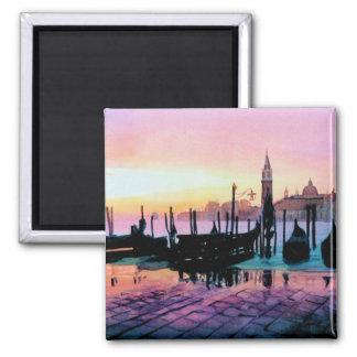 """Sunrise St. Mark's"" Gondola Watercolor Square Magnet"