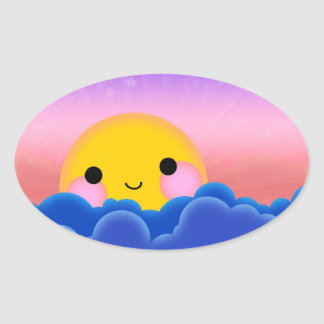 Sunrise Sunset Oval Sticker