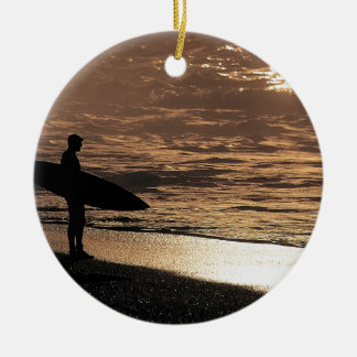 Sunrise surfer ceramic ornament
