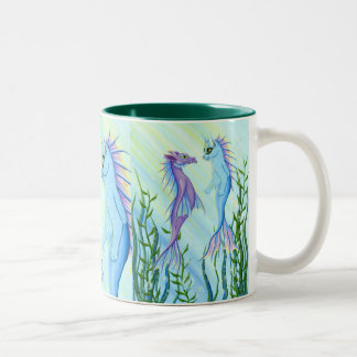 Sunrise Swim Sea Dragon Mermaid Cat Fine Art Mug