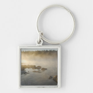 Sunrise through fog in Anderson Bay, Rainy Silver-Colored Square Keychain