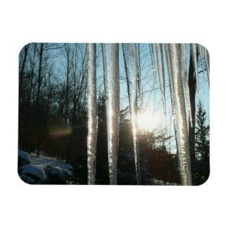Sunrise Through Icicles Winter Nature Photography Rectangular Photo Magnet