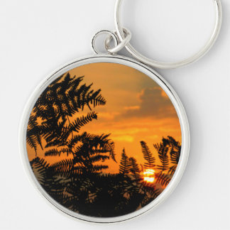 Sunrise Through the Ferns Silver-Colored Round Keychain